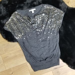 Kenneth Cole Grey Sequin Sweater Top Party Holiday